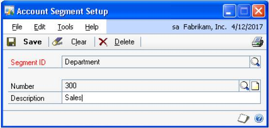 GP-Account Segment Setup