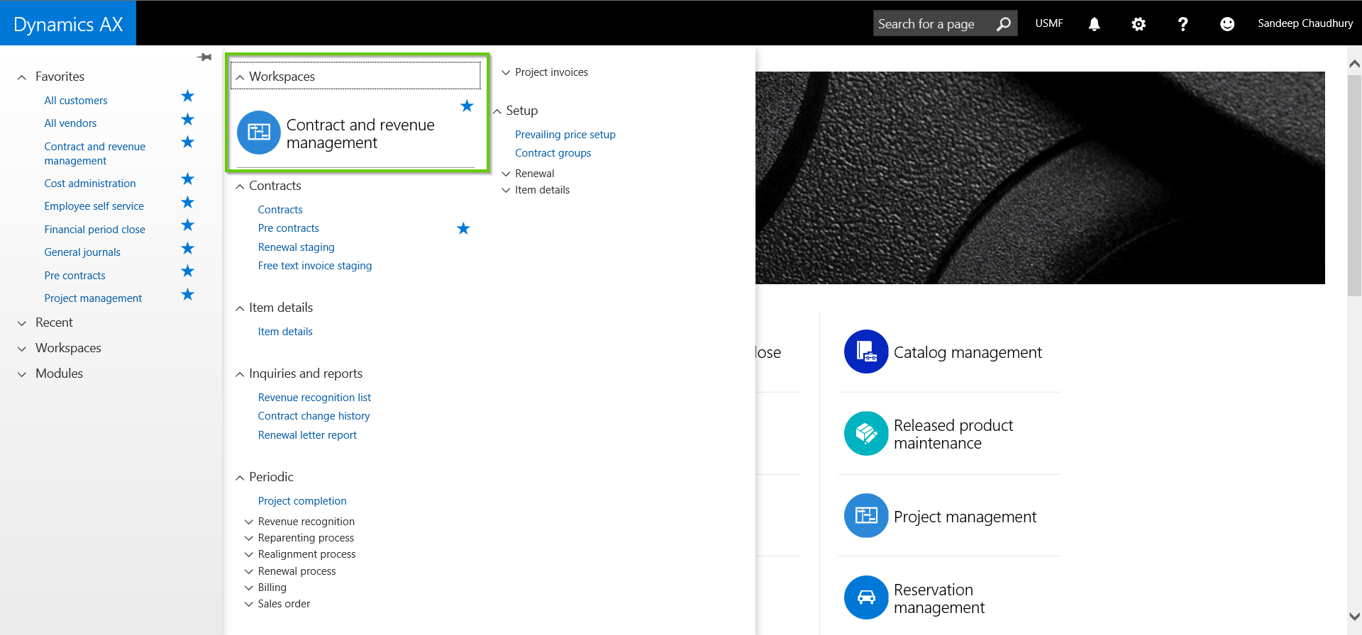 Contract Management Module Main Menu with AXIO for Dynamics AX