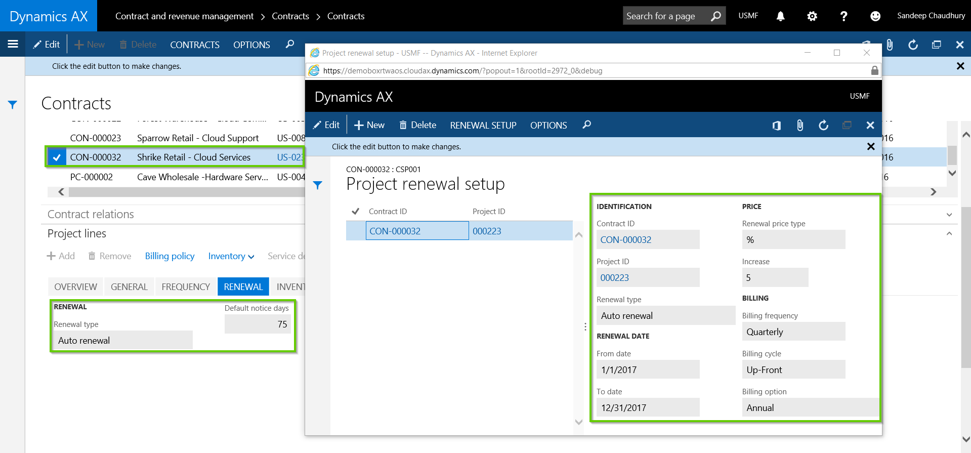 Contract Renewal Setup in AXIO for Microsoft Dynamics AX