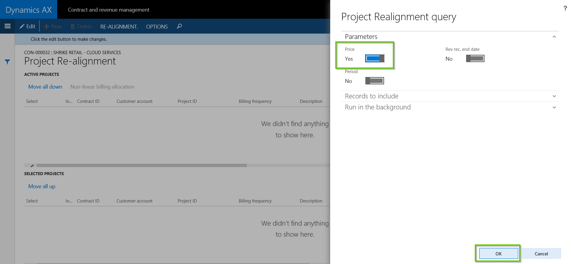 Run Realignment of Contract Price in Dynamics AX with AXIO