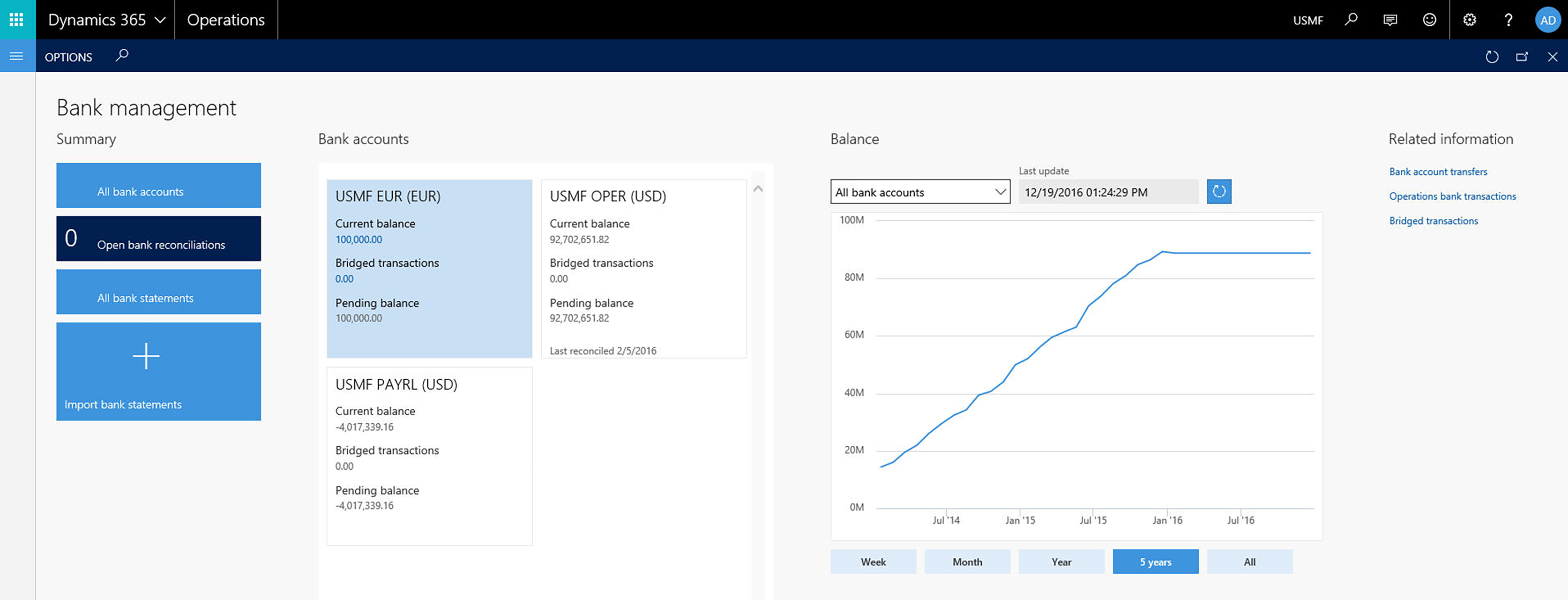 AXIO Core Financials Bank Workspace with Dynamics 365 for Operations