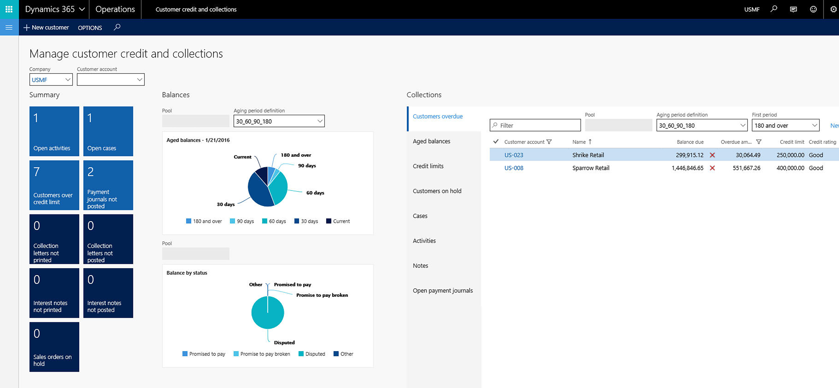 AXIO Core Financials Credit and Collection Workspace with Dynamics 365 for Operations