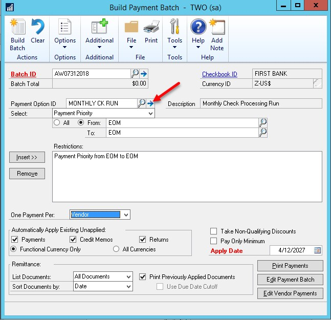 Dynamics GP payment batch monthly ck run