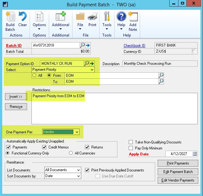 Dynamics GP payment batch payment priority