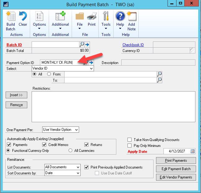 Dynamics GP build payment batch feature