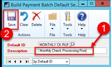 Dynamics GP building payment batch default settings