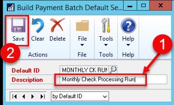 Dynamics GP building payment batch default settings