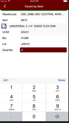 Sage inventory data from mobile phone