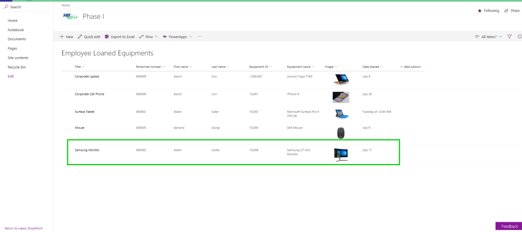 Updating SharePoint lists with new equipment