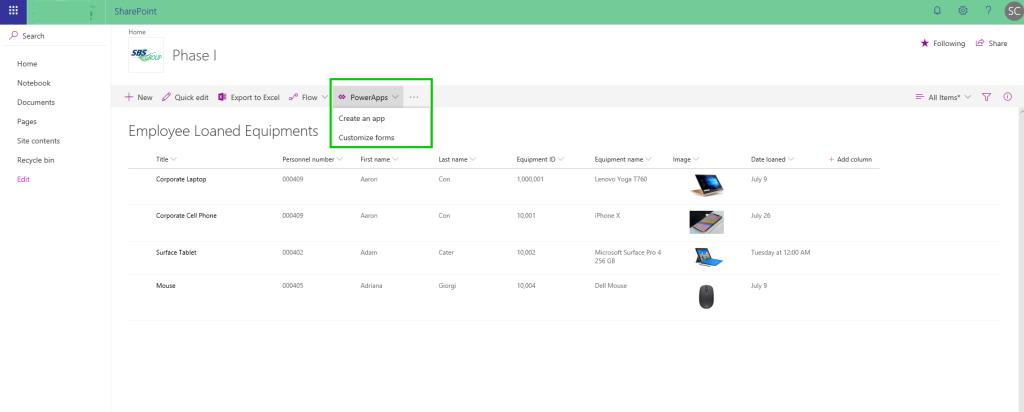 Create an app in SharePoint