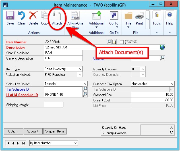 Dynamics GP document attachment feature