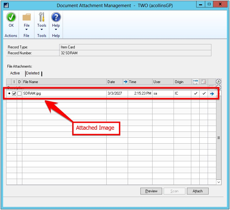 Dynamics GP document attached feature