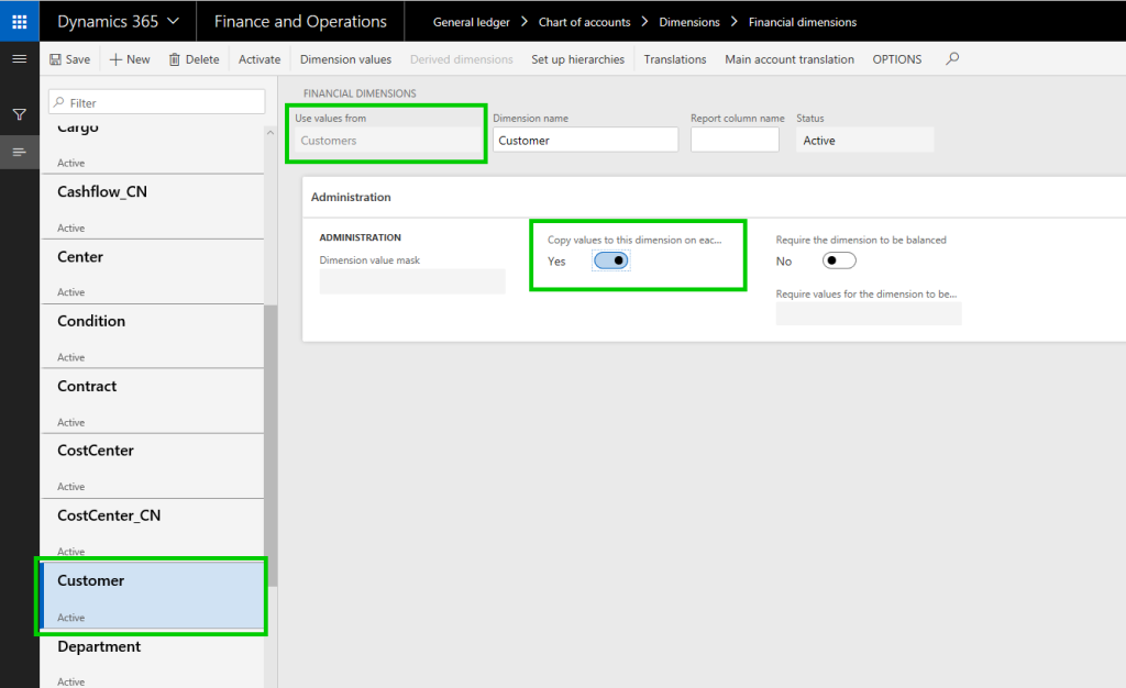 Dynamics 365 Finance and Operations customer dimensions