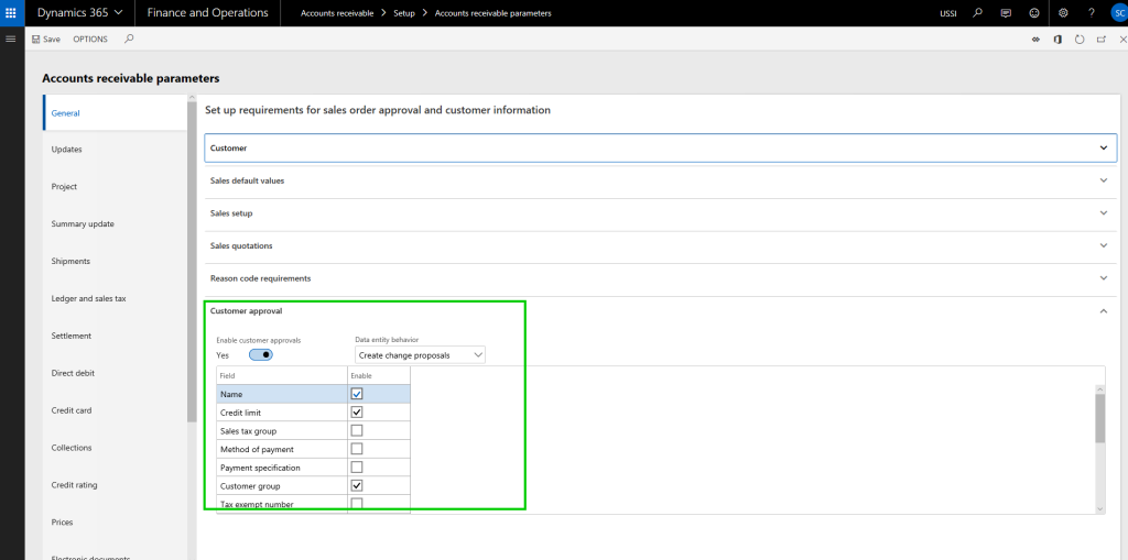 selecting fields for approval in dynamics 365 finance and operations