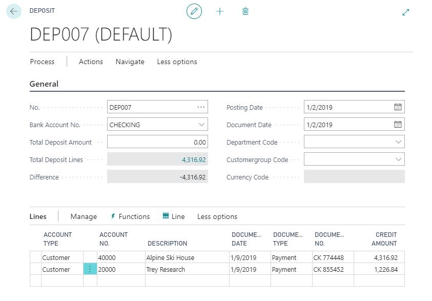 D365 BC deposit screen