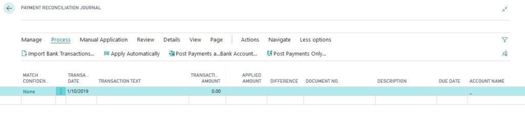 Dynamics 365 business central payment reconciliation journal