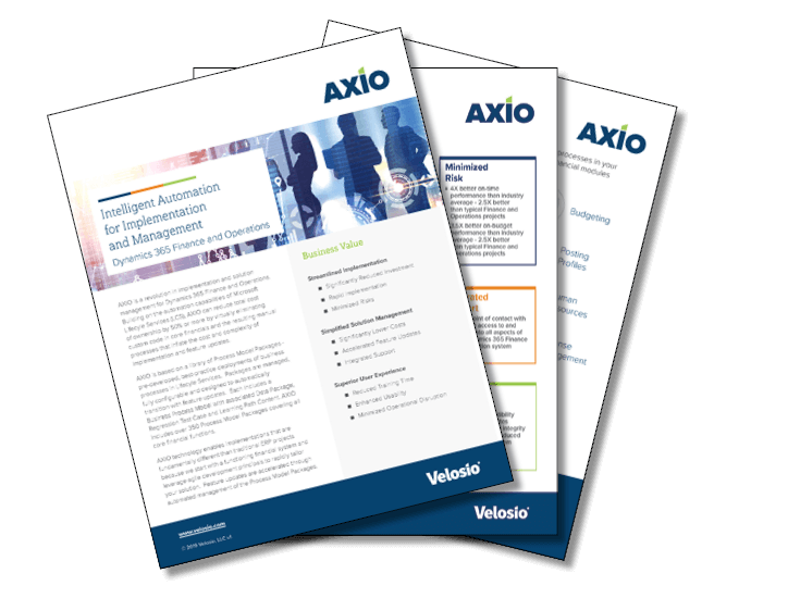 AXIO feature sheet for project based erp software