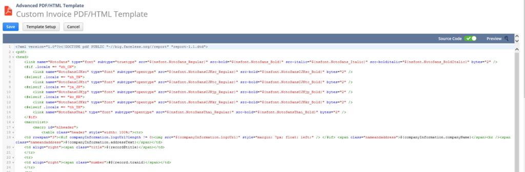 NetSuite advanced PDF template