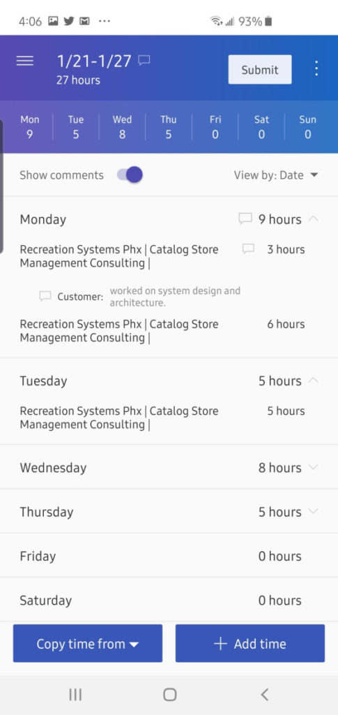 Dynamics 365 mobile timesheet management