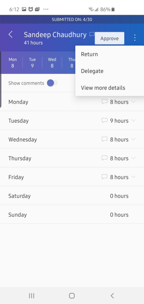 Dynamics 365 for f and o approving project timesheet mobile app