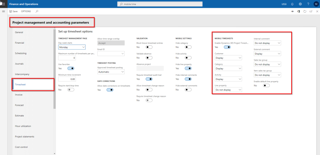 Dynamics 365 for Finance and Operations enable mobile timesheet