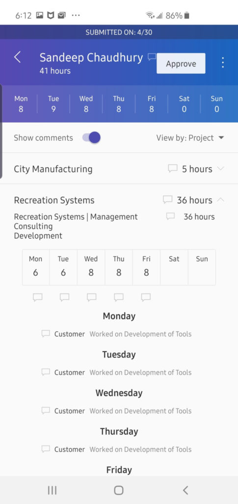 Dynamics 365 finance and operations project management mobile timesheet app