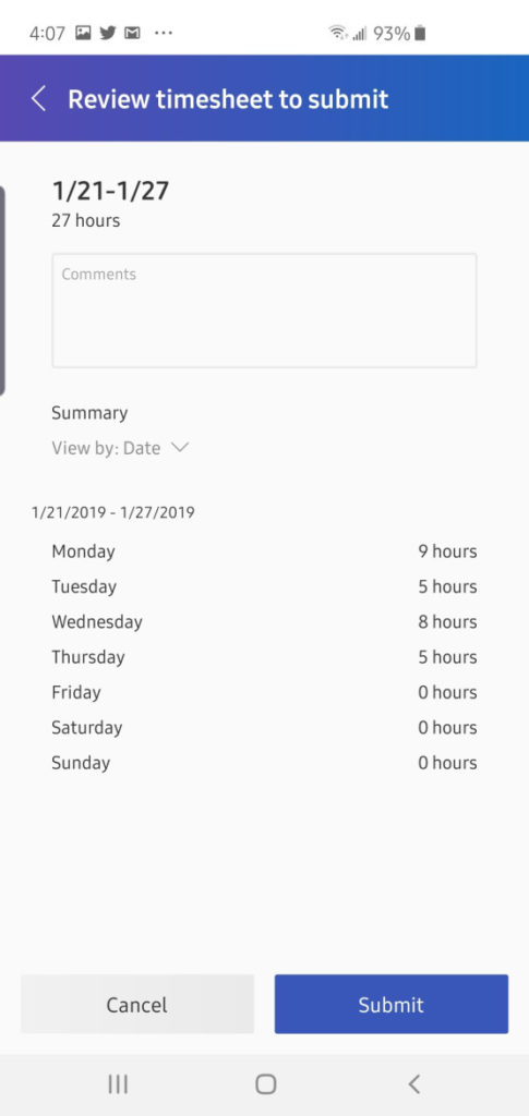 dynamics 365 mobile timesheet app