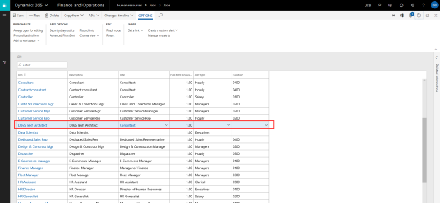 Creating a record in Dynamics 365 for Finance and Operations