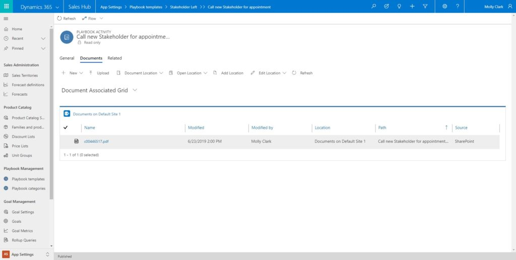 Dynamics 365 for Sales playbook feature