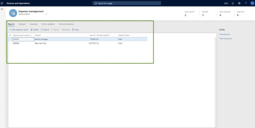 Dynamics 365 for finance and operations expense management