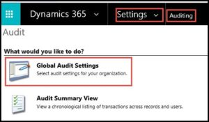 Dynamics 365 CRM audit settings