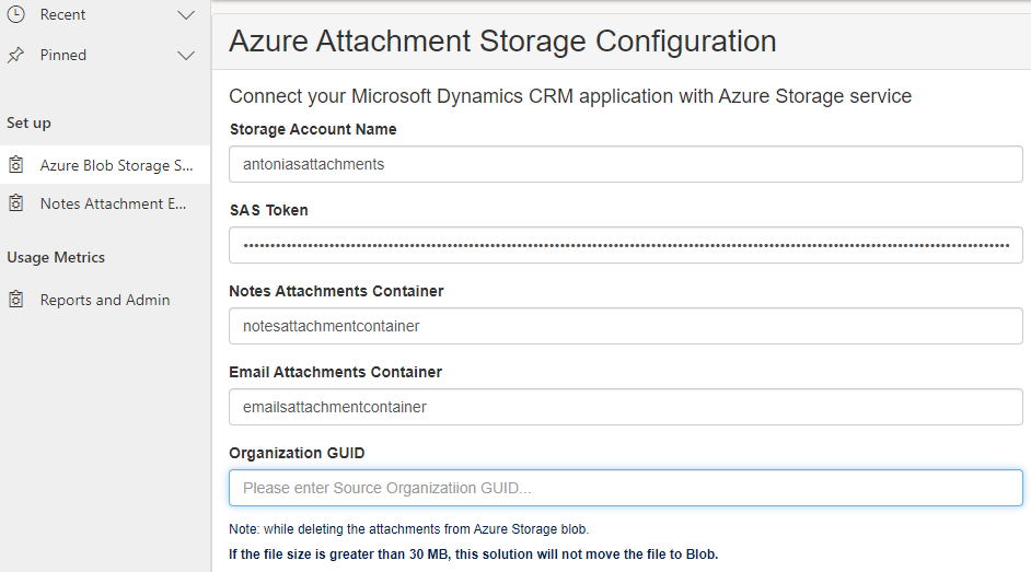 Microsoft Azure attachment storage configuration