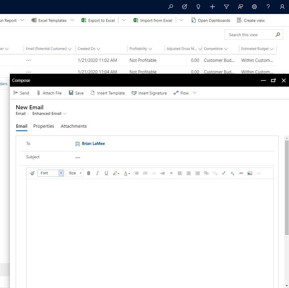 Dynamics 365 CRM email send