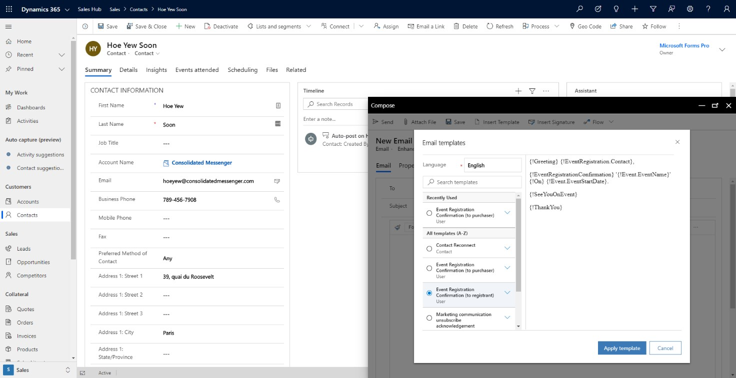 Dynamics 365 CRM email templates