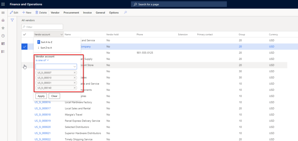 Dynamics 365 Finance new data filtering feature
