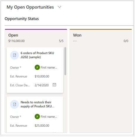 D365 CRM opportunity status view