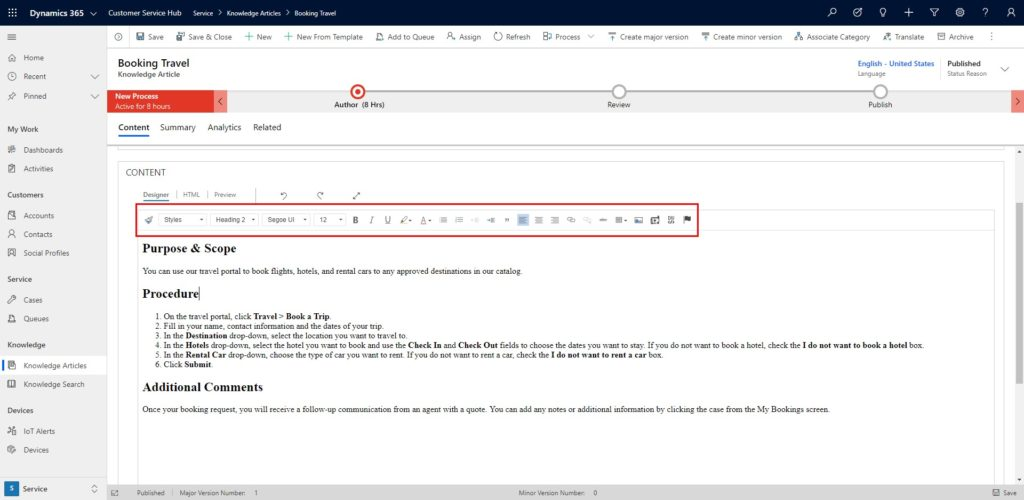 Dynamics 365 CRM knowledge article