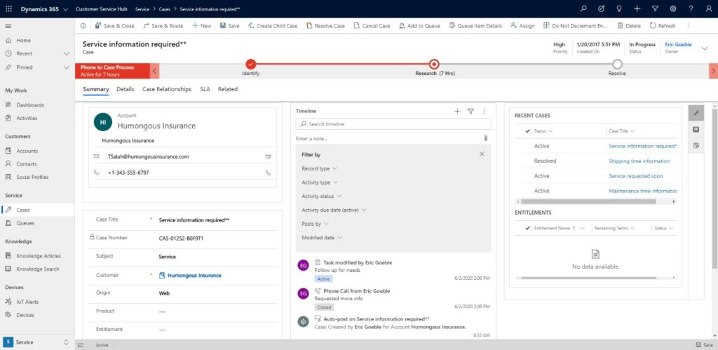 Dynamics 365 CRM search timeline records