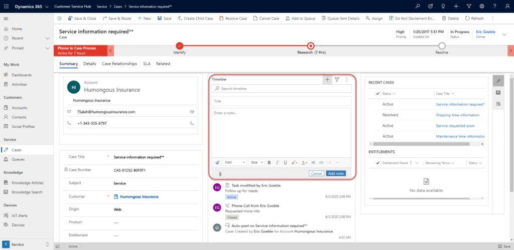 Microsoft Dynamics 365 CRM customer service hub
