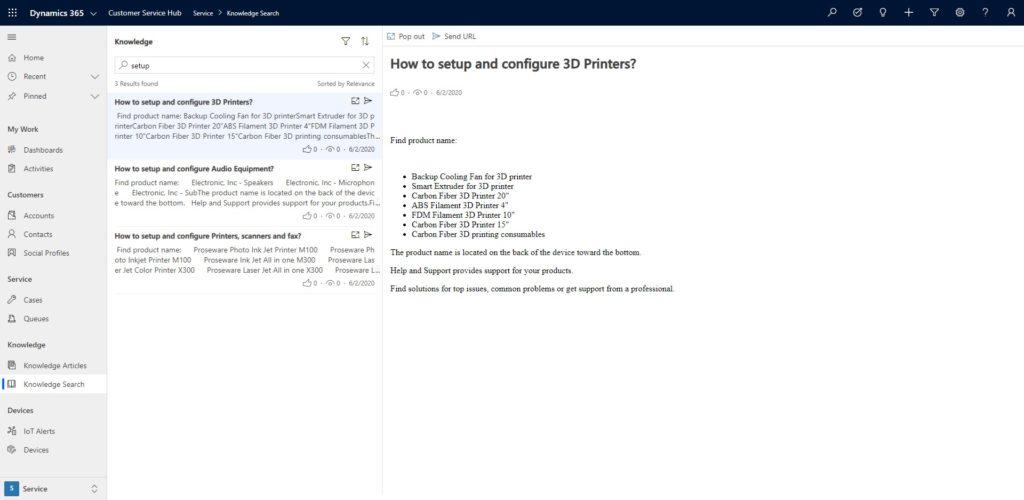 Microsoft Dynamics 365 CRM knowledge search