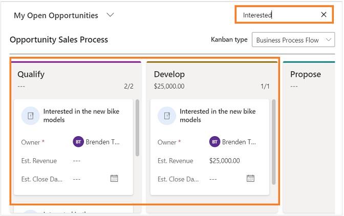 Microsoft Dynamics 365 Customer Engagement Kanban view
