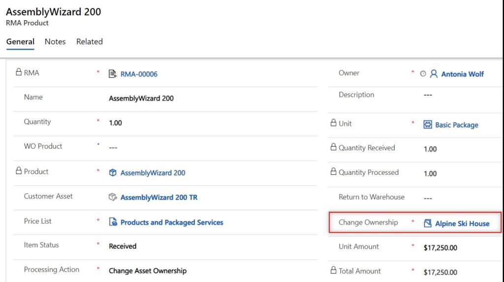 Dynamics 365 field service change product ownership