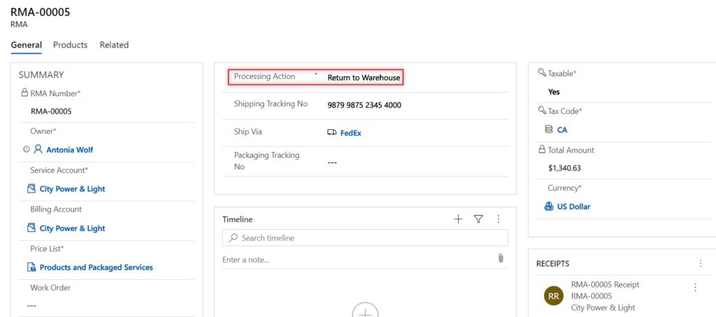 Microsoft Dynamics 365 Field Service return to warehouse