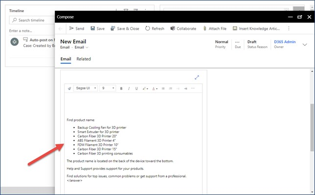 dynamics 365 customer service insert knowledge email