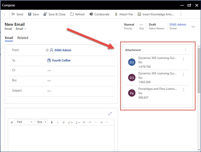 dynamics 365 email file attachment