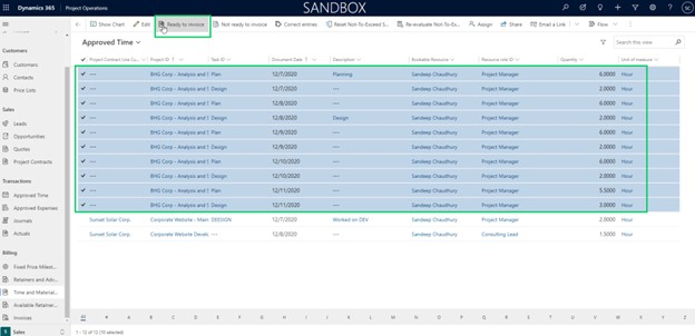 dynamics 365 project operations approved time