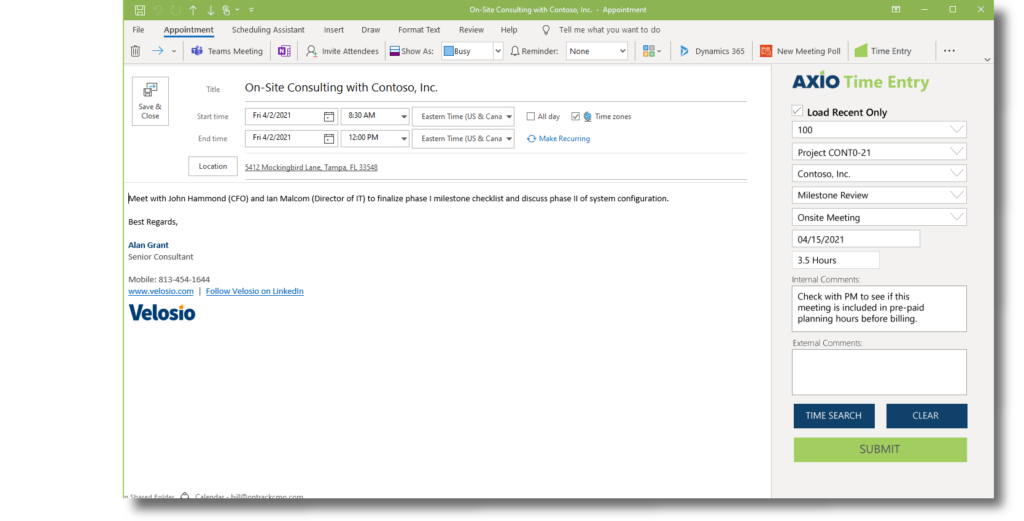 Advanced Projects require timely time entry, simplified with integration to Microsoft Outlook